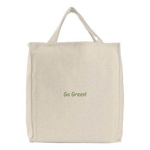Go Green! Embroidered Tote Bag