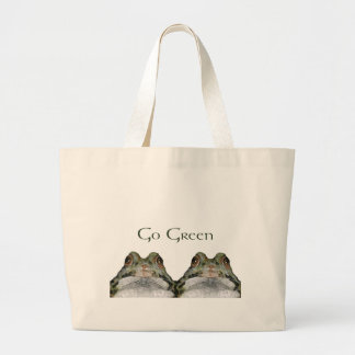 Go GreeN Environment Two Cute Frogs Art Canvas Bags