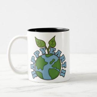 Go Green Happy Earth Coffee Cup Two-Tone Mug