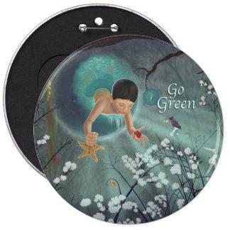Go Green - Keepsakes of the Ocean Art 6 Cm Round Badge