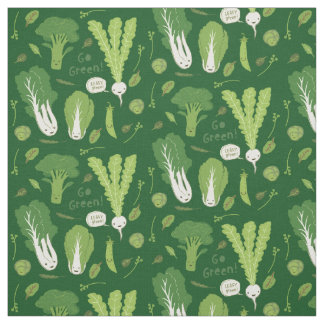 Go Green! Leafy Green! Happy Garden Veggies Fabric