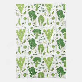 Go Green! Leafy Green! Happy Garden Veggies Tea Towel