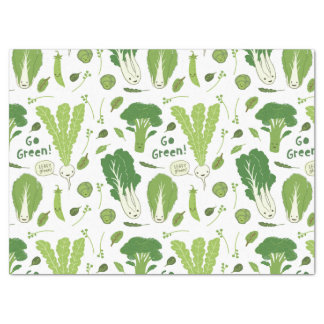 Go Green! Leafy Green! Happy Garden Veggies Tissue Paper