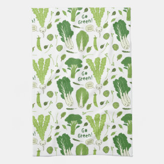Go Green! Leafy Green! Happy Garden Veggies Towel