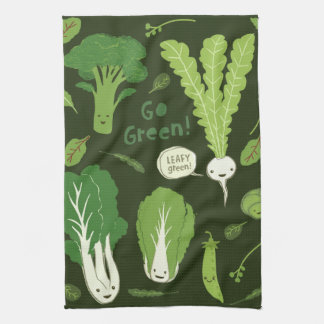 Go Green! (Leafy Green!) Happy Veggies Tea Towel