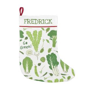 Go Green Leafy Green Veggies Custom Text Small Christmas Stocking