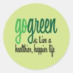 Go Green Live Happier Classic Round Sticker