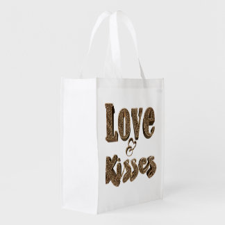 Go Green Love and Kisses Typography Romantic Cute Reusable Grocery Bag
