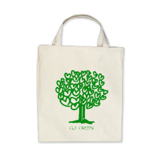 Go Green Organic Grocery Tote Bag