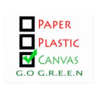 Go Green Paper Plastic Canvas Postcard