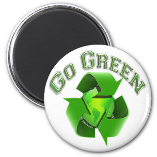 Go Green-Recycel Earthlings 6 Cm Round Magnet