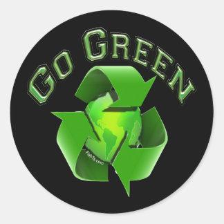 Go Green-Recycel Earthlings Round Sticker