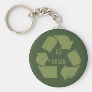 Go Green Recycle Logo Basic Round Button Key Ring