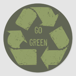 Go Green Recycle Logo Round Sticker