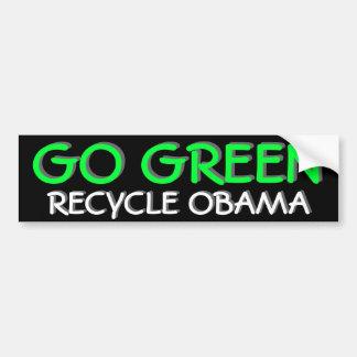 GO GREEN RECYCLE OBAMA BUMPER STICKER