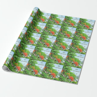 Go Green Red Flame Tree Wrapping Paper