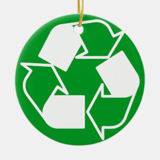 go green reduce recycle ceramic ornament