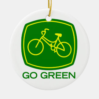 Go Green Round Ceramic Decoration
