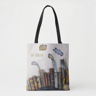 go green, smoke stacks, original art tote bag