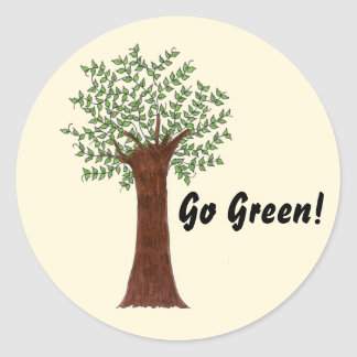 Go Green Tree Classic Round Sticker