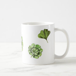 Go green watercolour leaves mug