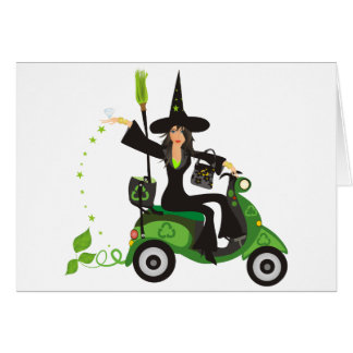 Go Green Witches Spell Note Card