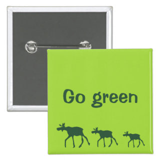 Go green with cartoon moose walking on green 15 cm square badge