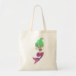 Go green with this lovely, green haired mermaid! tote bag