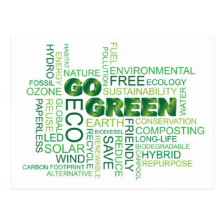 Go Green Word Cloud Postcard