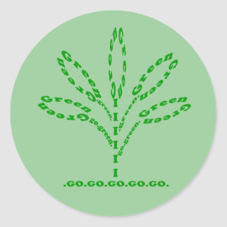 go green word plant stickers