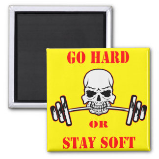 Go Hard Or Stay Soft Gym Weight Lifting Skull Magnet
