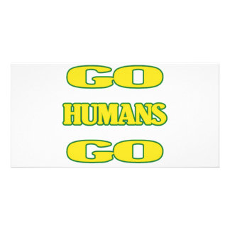 Go Humans Go (green/gold) Photo Card
