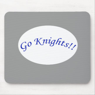 Go Knights! Curved Blue Text Silver Mousepad