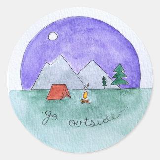 Go Outside Round Sticker