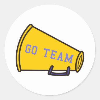 Go Team Megaphone Round Sticker