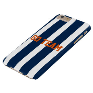 Go Team - navy blue stripe - Customize message Barely There iPhone 6 Plus Case