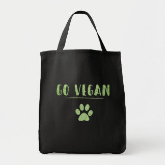 Go Vegan Animal Paw Faux Green Glitter Typography Tote Bag