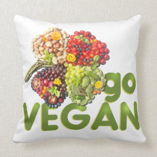 Go Vegan Clover Fruits Vegetables Think Green Throw Pillow