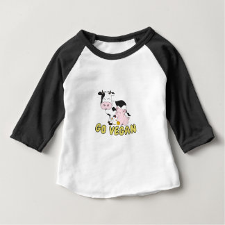Go Vegan - Cute Pig, Cow and Chicken Baby T-Shirt