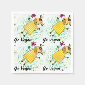 """Go vegan"" sign with cute doodle cow Paper Serviettes"