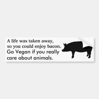 Go vegan to save lives bumper sticker