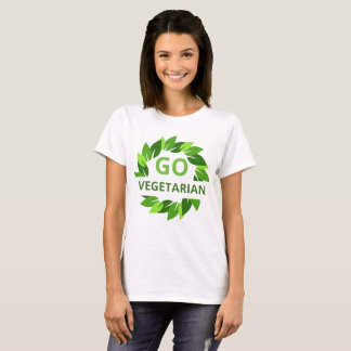 Go Vegetarian, Vegan, Veganism Green Leaves Ladies T-Shirt