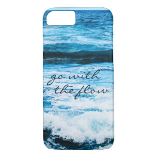 """""""Go with Flow"""" Quote Hawaii Blue Ocean Waves Photo iPhone 8/7 Case"""