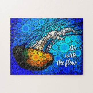 """""""Go with the Flow"""" Fun, Ocean Jellyfish Circle Art Jigsaw Puzzle"""