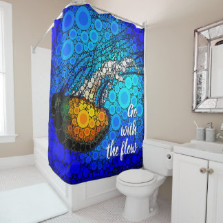 """Go with the Flow"" Fun, Ocean Jellyfish Circle Art Shower Curtain"