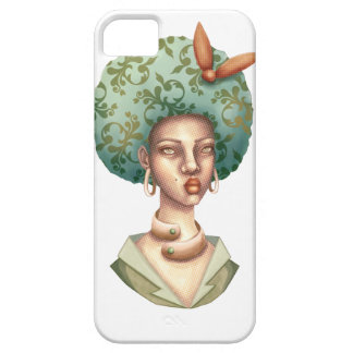 Go with the Fro -  Lady with Green Afro Unique Art Barely There iPhone 5 Case