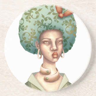 Go with the Fro -  Lady with Green Afro Unique Art Coaster