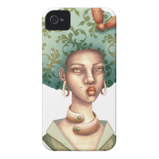 Go with the Fro -  Lady with Green Afro Unique Art iPhone 4 Cover