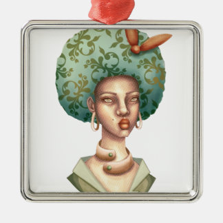 Go with the Fro -  Lady with Green Afro Unique Art Metal Ornament