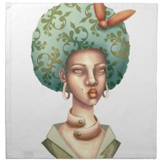 Go with the Fro -  Lady with Green Afro Unique Art Napkin